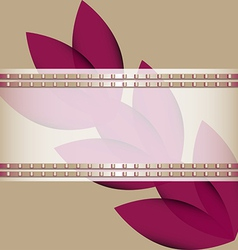 Purple flowers diagonally and ribbon vector