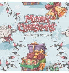Seamless texture of New Year and Christmas with vector image vector image