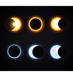 Sun and moon eclipse icons set vector