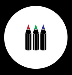 Three crayons various color simple black icon vector