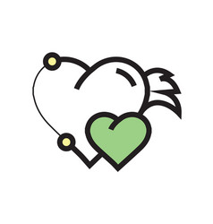 Twins hearts wings pen tool design green vector