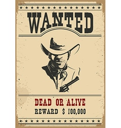 Wanted poster western vector image