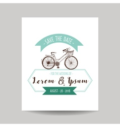 Wedding Invitation Card - Save the Date - Bicycle vector image