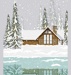 winter background view of a house in the forest vector image vector image