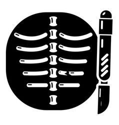Xray of rib icon simple style vector