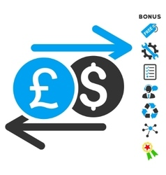 Currency exchange flat icon with bonus vector