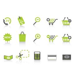 shopping icon green series vector image