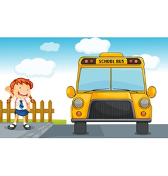 school bus and girl vector image
