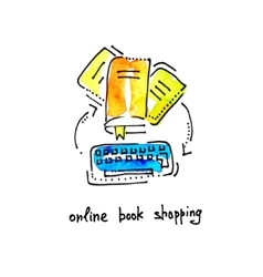 sketch watercolor icon of online book shopping vector image