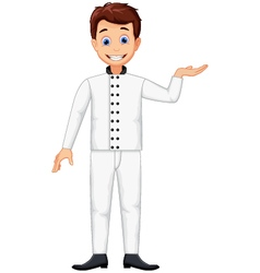 Funny chef cartoon posing vector