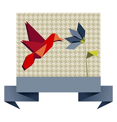 Single origami hummingbird over textile pattern vector