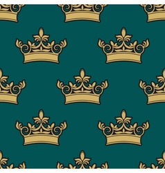 Seamless pattern of a golden crowns vector image