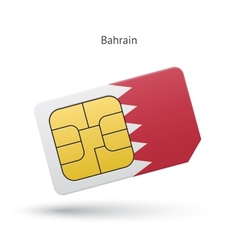 Bahrain mobile phone sim card with flag vector
