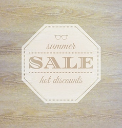 Summer Sale Label With Wooden Background vector image
