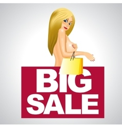 Beautiful woman and big sale business banner vector