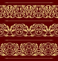 collection of gold floral seamless border design e vector image