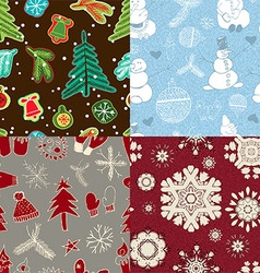 Set of seamless wrapping paper for christmas gift vector