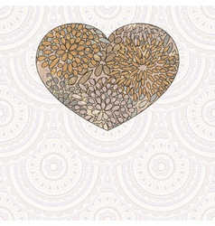 Heart with floral pattern vector