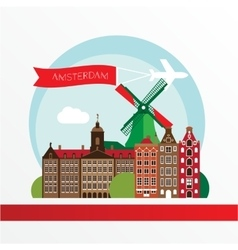 Modern amsterdam city skyline design netherlands vector