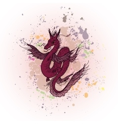 Magic dragon on abstract ink background vector