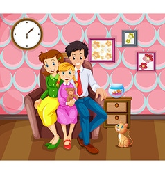 Girl and her family in the living room vector image