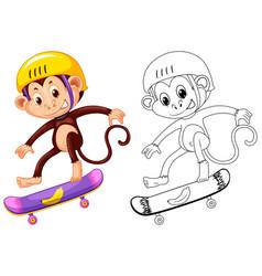 Animal outline for monkey on skateboard vector