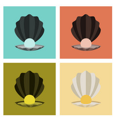 Assembly flat pearl mussel vector