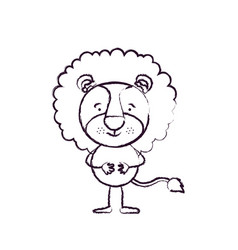 blurred silhouette caricature of cute lion vector image