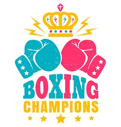 boxing retro poster three color vector image vector image