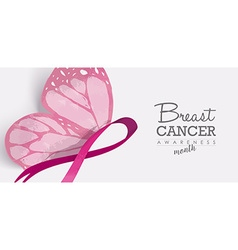 Breast cancer butterfly for social media header vector image