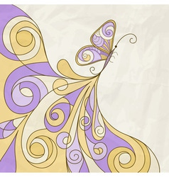 butterfly and abstract pattern crumpled paper text vector image