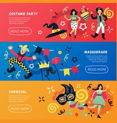 Carnival masquerade horizontal banners vector