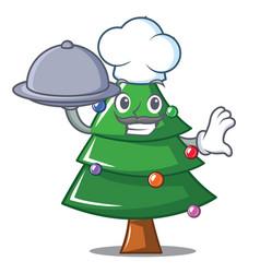 Chef with food christmas tree character cartoon vector
