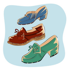 colorful retro vintage shoes isolated vector image vector image