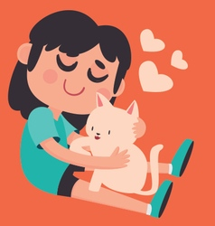 Cute Girl Holding her Pet Cat vector image vector image