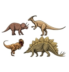 Dinosaurs characters set vector