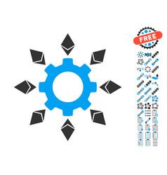 Ethereum configuration gear icon with bonus vector