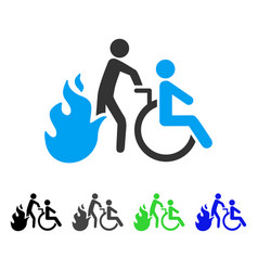 Fire patient evacuation flat icon vector