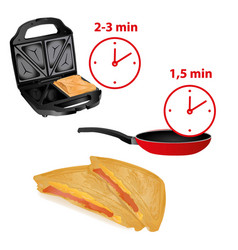 frying pan sandwich toaster and minute heat-up vector image vector image