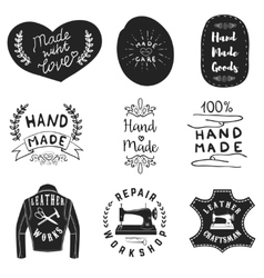 Handmade products labels Leather workshop emblems vector image vector image
