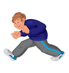 Happy cartoon man walking in running shoes vector