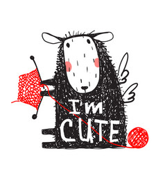 i am cute sheep print with sign vector image