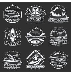 Kayaking Tours Emblem Set vector image