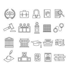 law and legal signs black thin line icon set vector image vector image