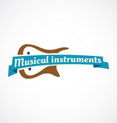Musical logo guitar silhouette with ribbon and vector