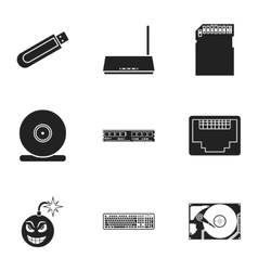 Personal computer set icons in black style big vector