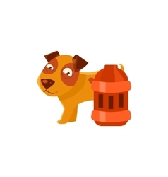 Puppy next to vintage red lantern vector