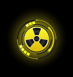 Radioactive nuclear icon button radiation sign vector