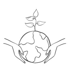 Save world with tree doodles vector