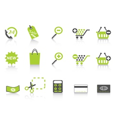 shopping icon green series vector image vector image